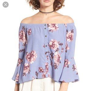 Astr Amelia Purple Floral Off Shoulder Blouse Top